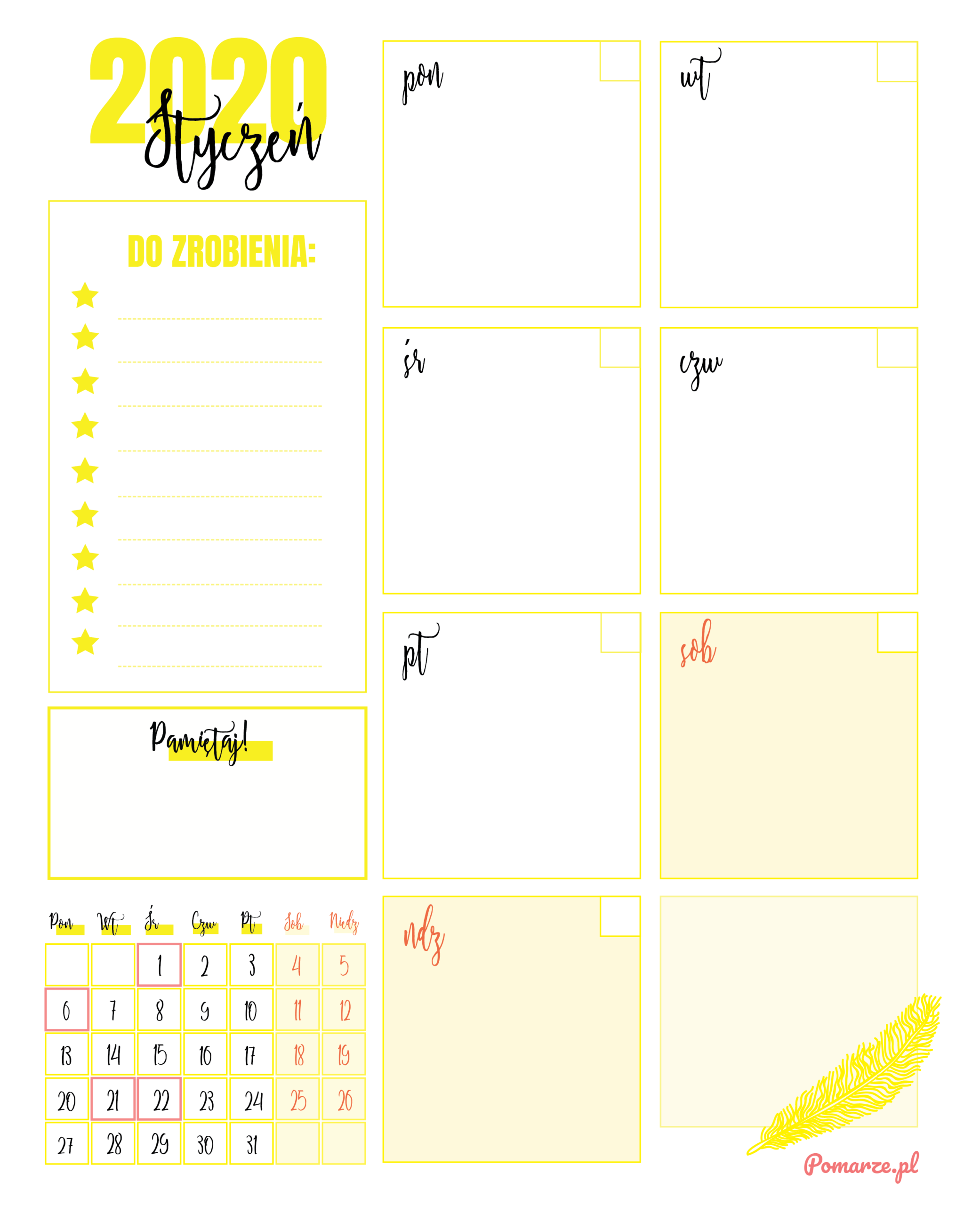 Kalendarz Miesięczny 2020 Pomarze Do Druku PDF żółty