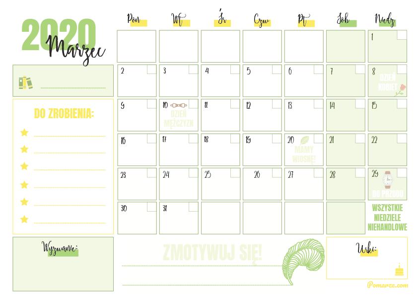 zielony kalendarz miesięczny 2020 planer do druku pdf