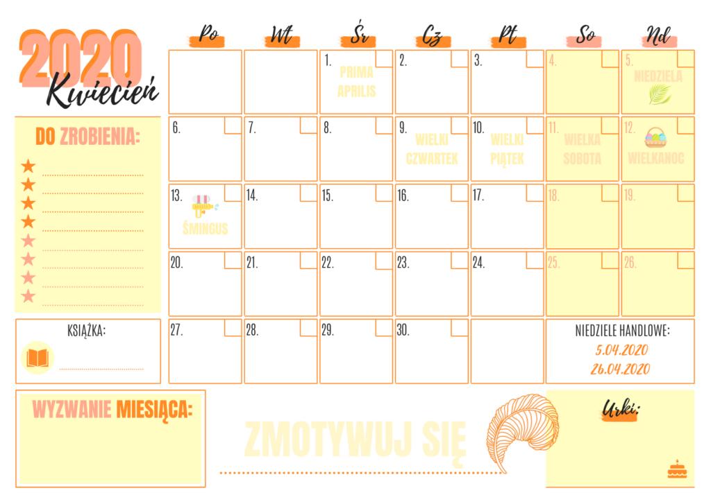 pomarańczowy kalendarz miesięczny 2020 planer Pomarze wydruku pdf