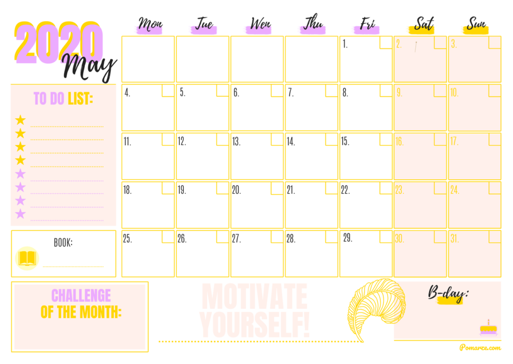 monthly calendar pomarze 2020 planner download printable pdf