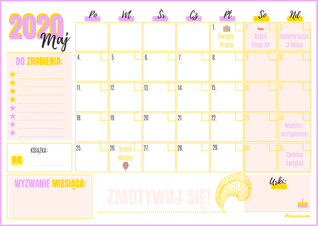 kalendarz planer miesięczny 2020 Czerwiec fajny kolorowy wydruku