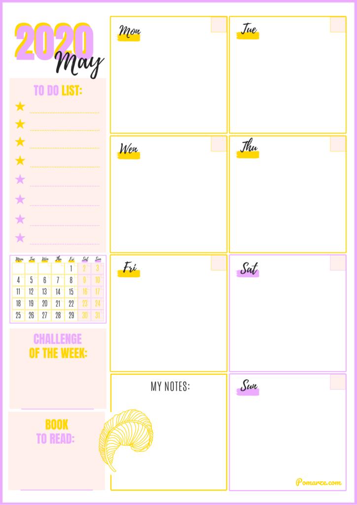 Kalendarz tygodniowy Maj 2020 planer pomarze do druku