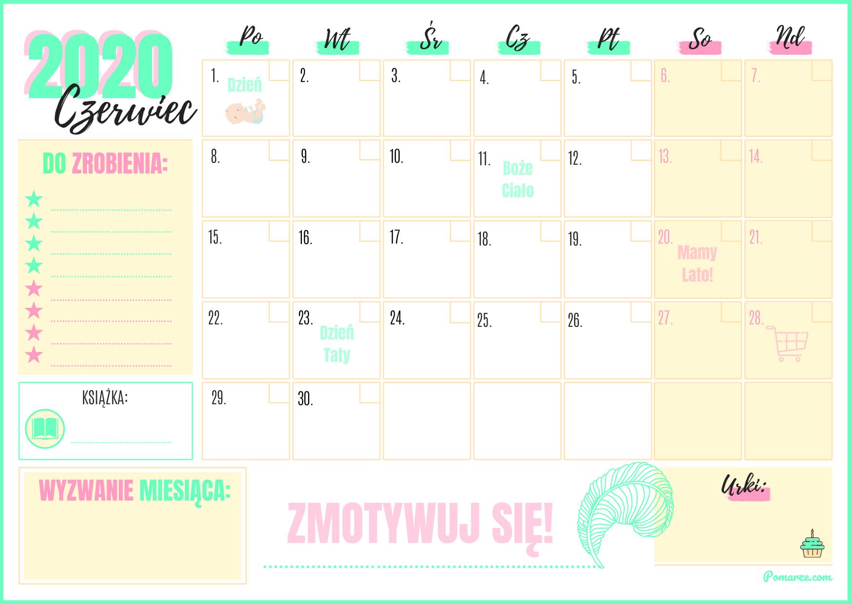 piekny kolorowy Kalendarz miesieczny planer Czerwiec 2020