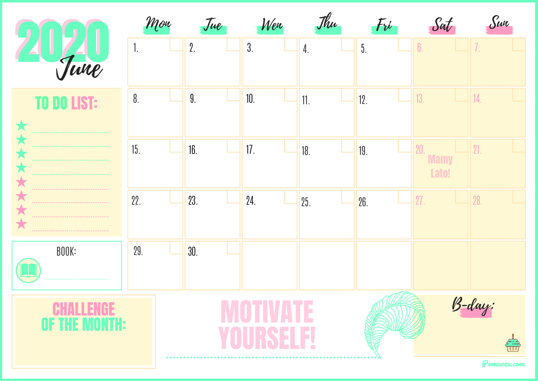 monthly calendar planner June 2020 download printable beautiful colorful