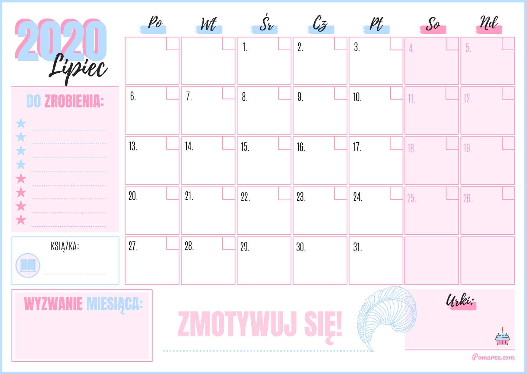 piekny kolorowy Kalendarz miesieczny planer Lipiec 2020