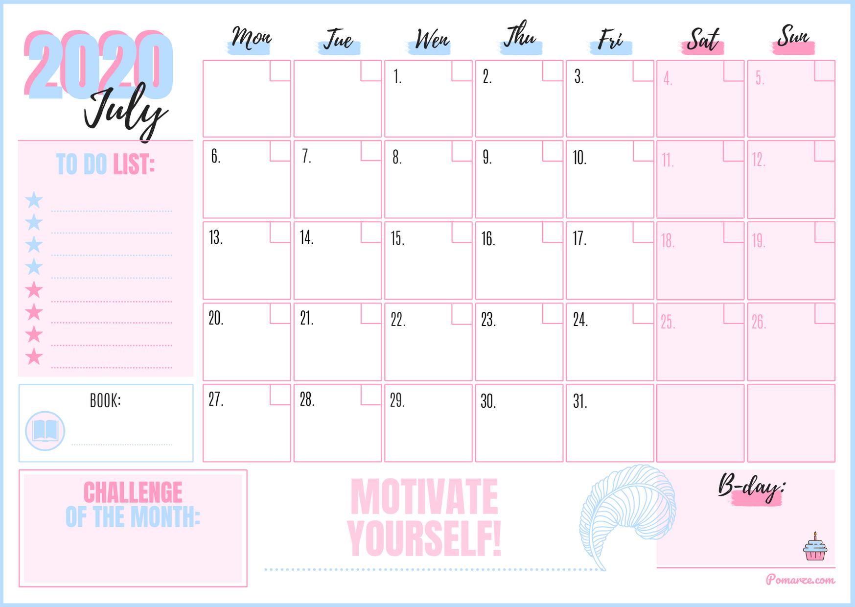 Monthly Calendar Planner July 2020