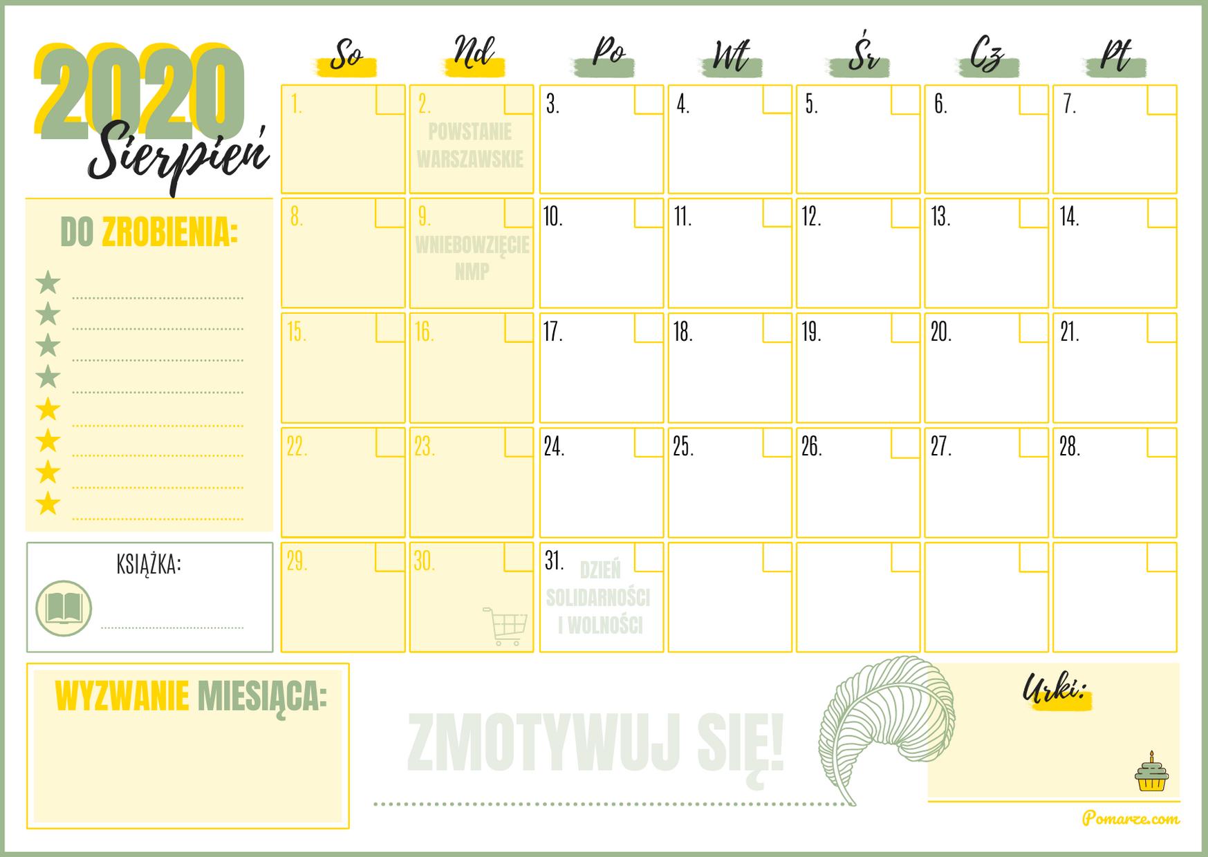 Kalendarz miesieczny planer Sierpień 2020 święta niedziele handlowe