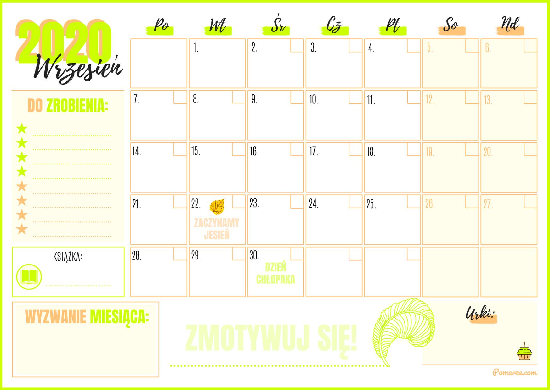 Kalendarz miesieczny planer Wrzesień 2020 do druku