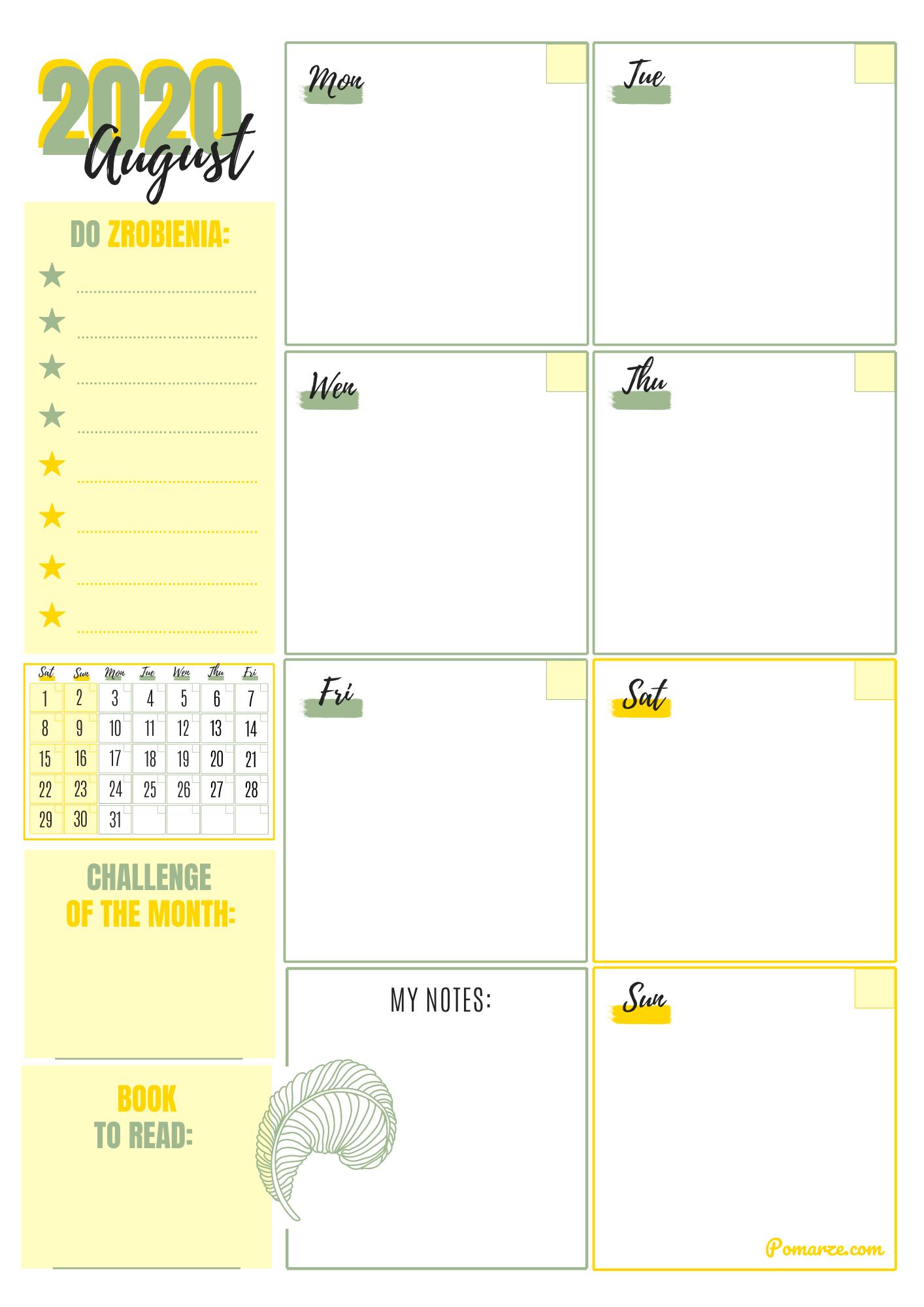 kalendarz planer miesięczny 2020 sierpień Pomarze wydruku pdf