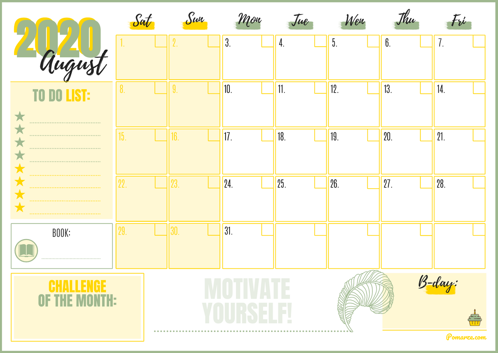 monthly calendar august 2020 printable colorful green