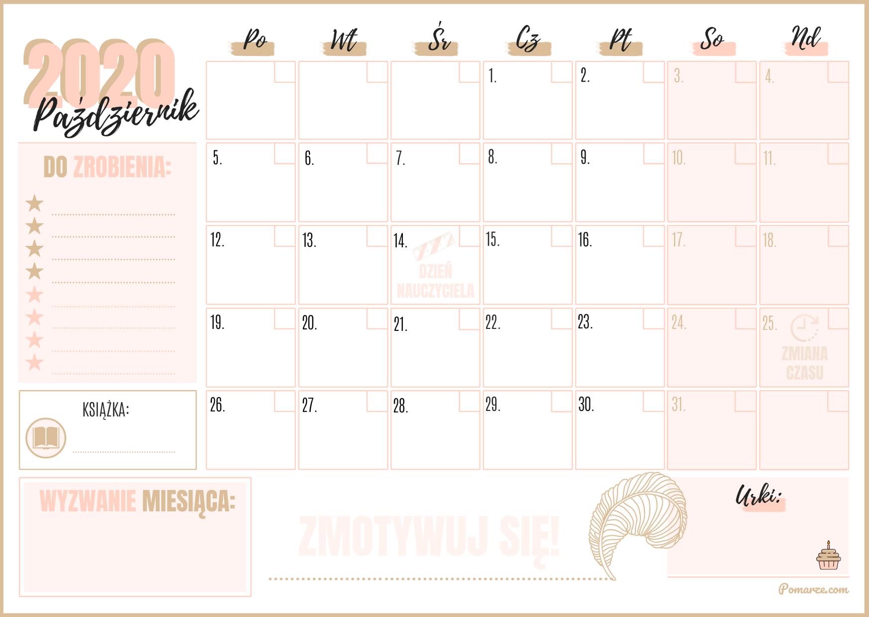 Kalendarz miesieczny planer Październik 2020 do druku pdf