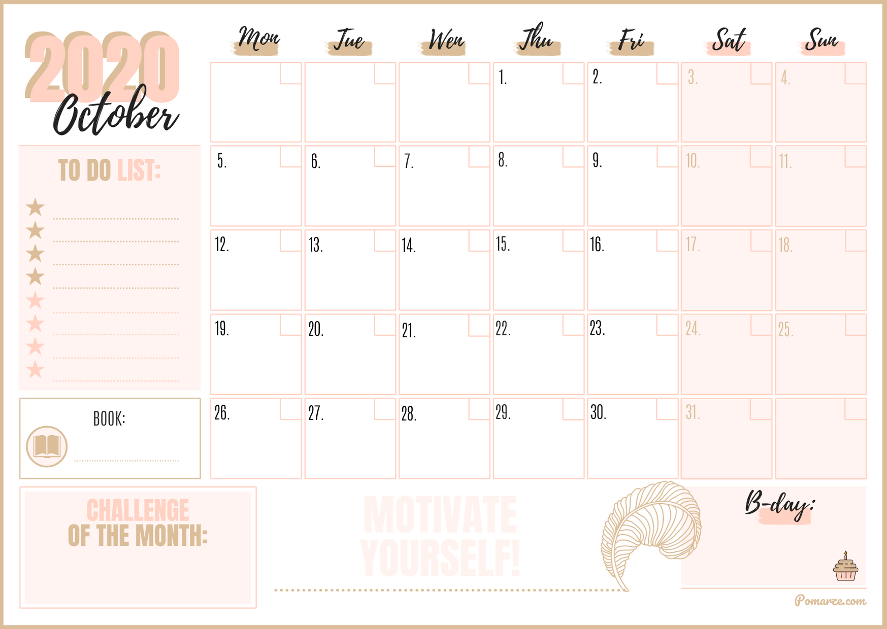 Monthly Calendar Planner October 2020 printable pfd colorful