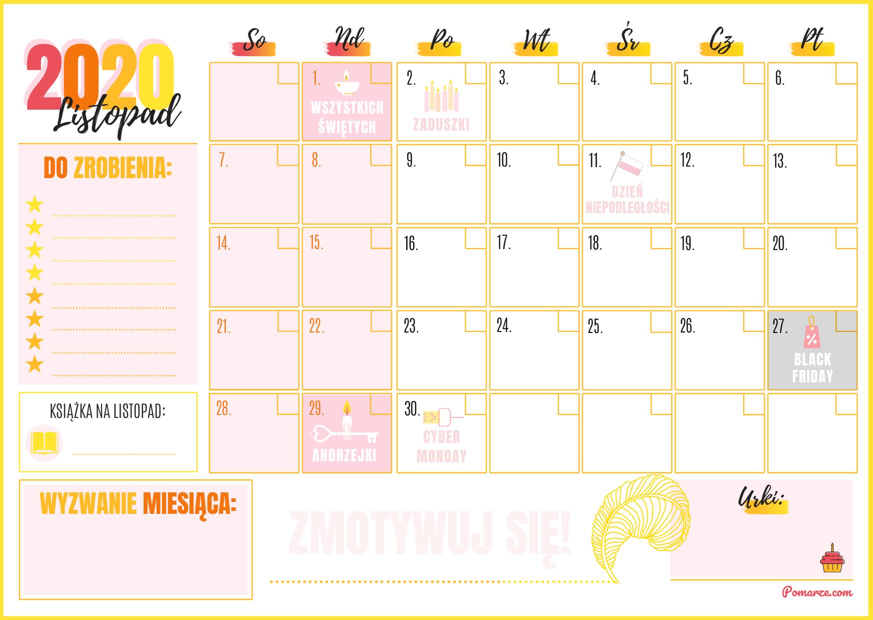 Kalendarz miesieczny planer Listopad 2020 pdf druk