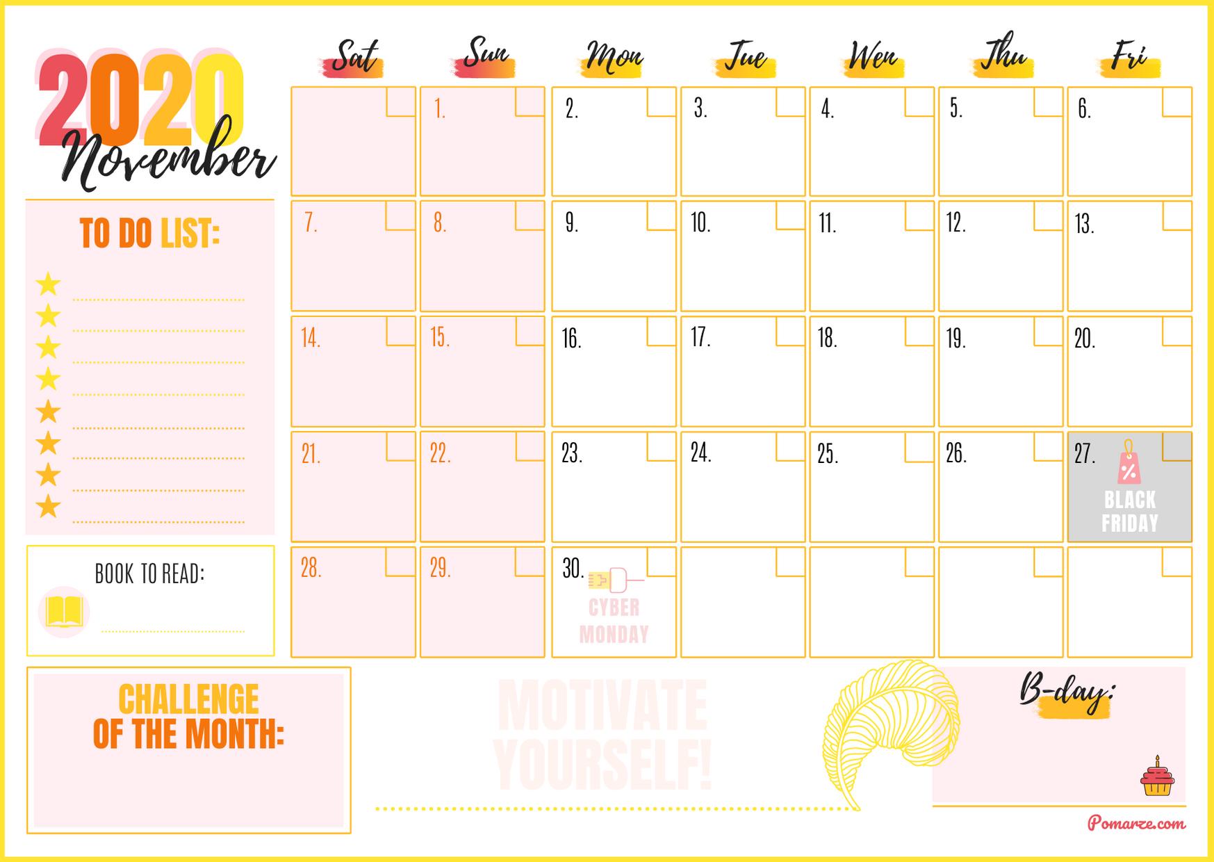 Monthly Calendar Planner November 2020 Printable pdf