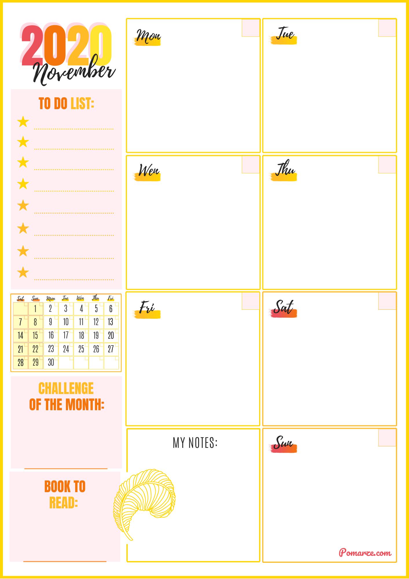 Weekly planner & calendar planner November 2020 color