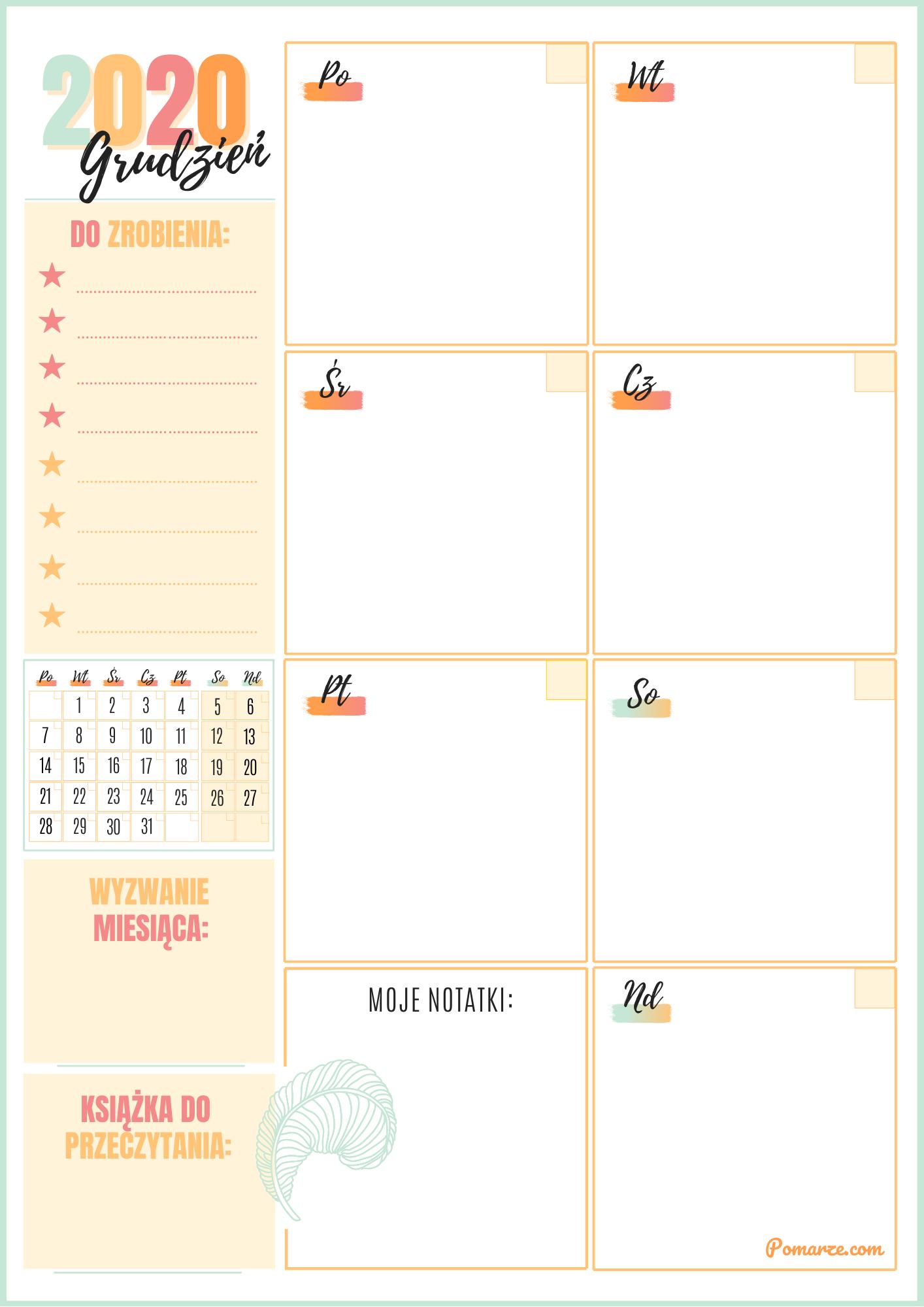 kalendarz tygodniowy 2020 darmowy planer wydruku pdf maj