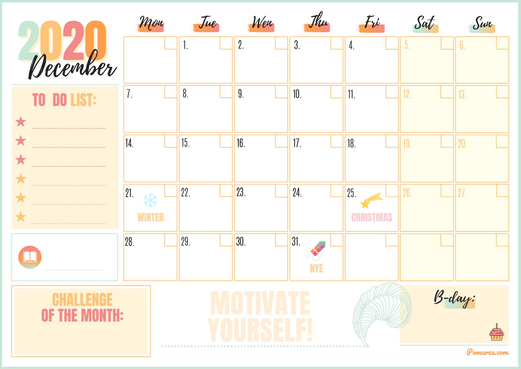 Monthly calendar planner December 2020 colour