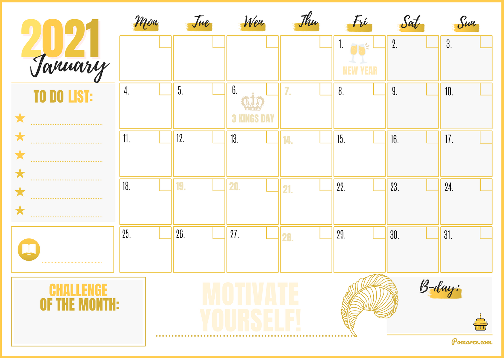Monthly calendar planner January 2021 colour gold printable