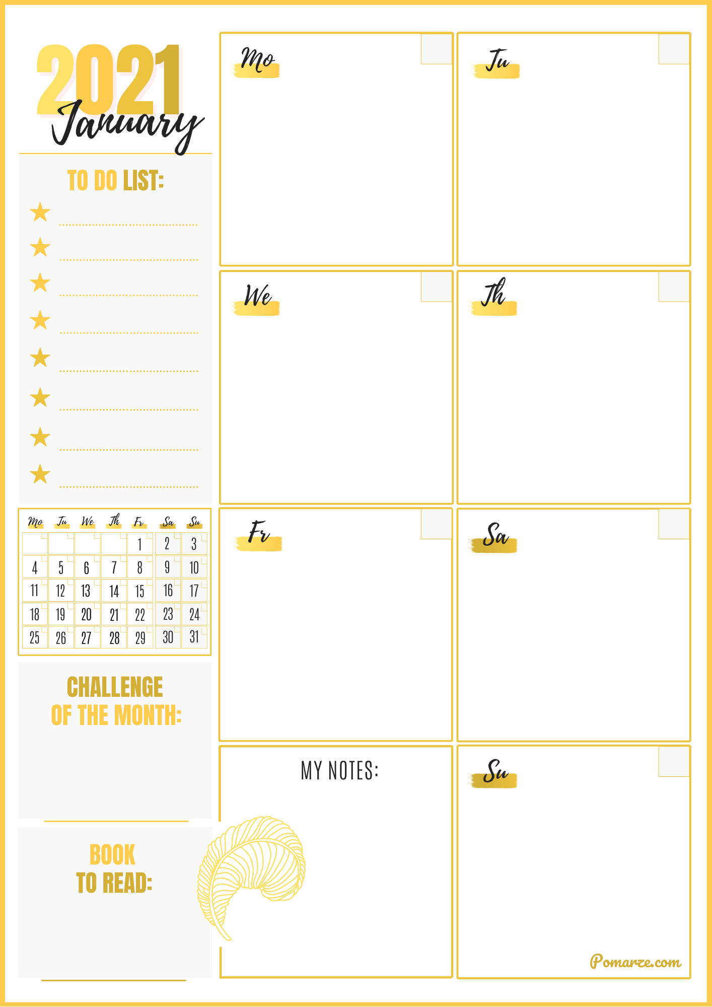 Weekly calendar planner January 2021 colour gold printable
