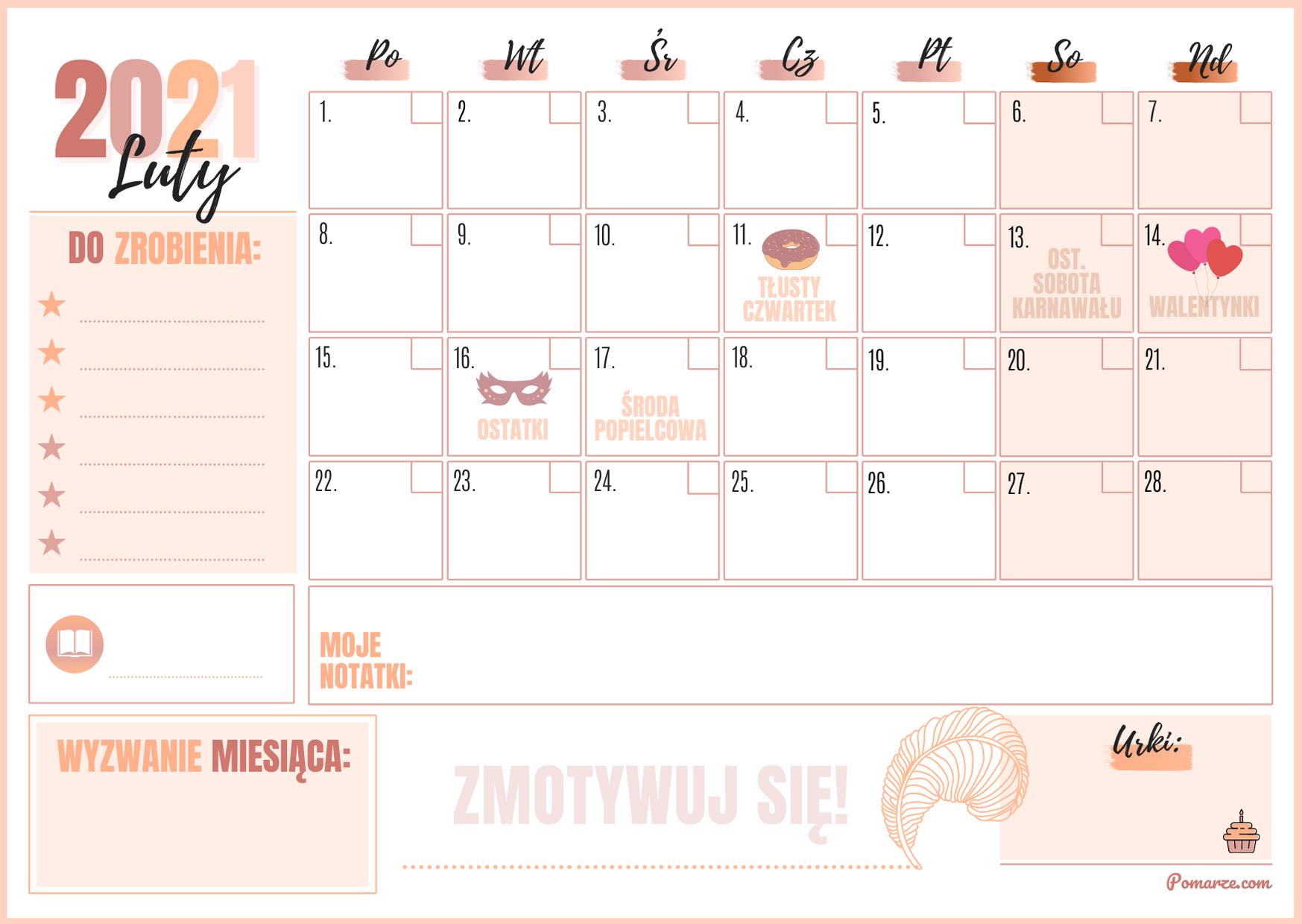 Kalendarz miesieczny planer Luty 2021 różowy notatki
