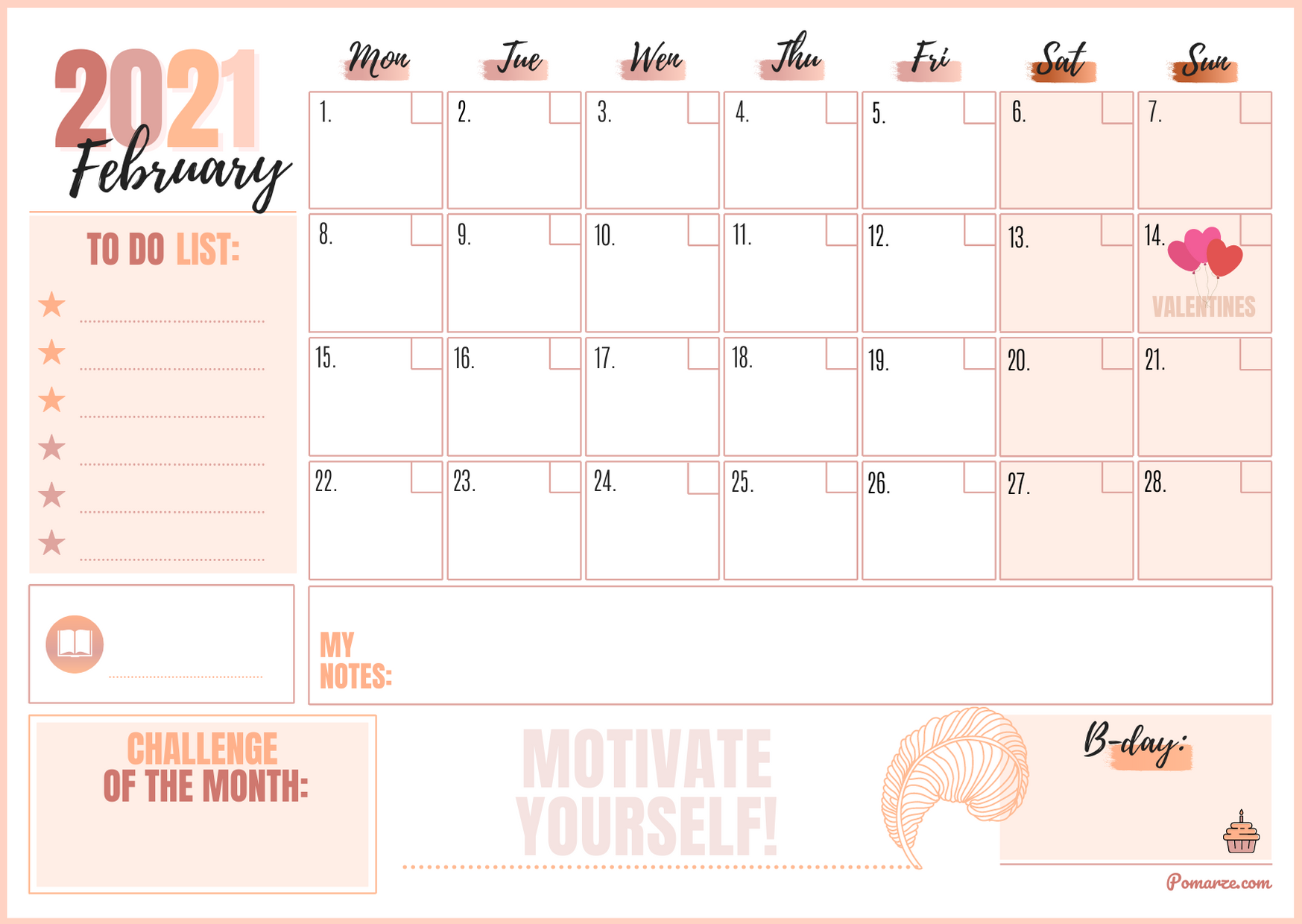 Monthly calendar planner February 2021 pink notes