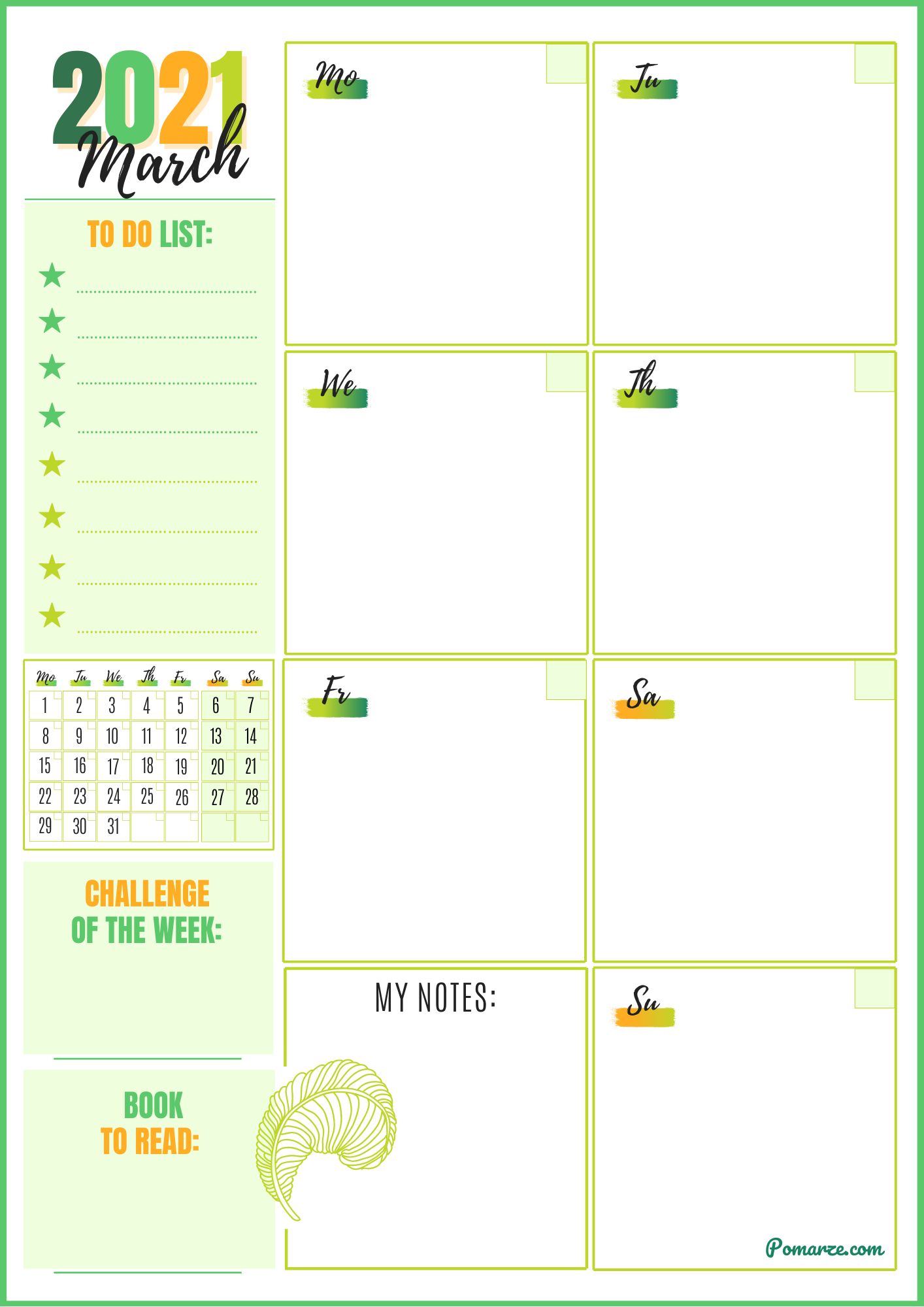 Monthly calendar planner March 2021 green notes