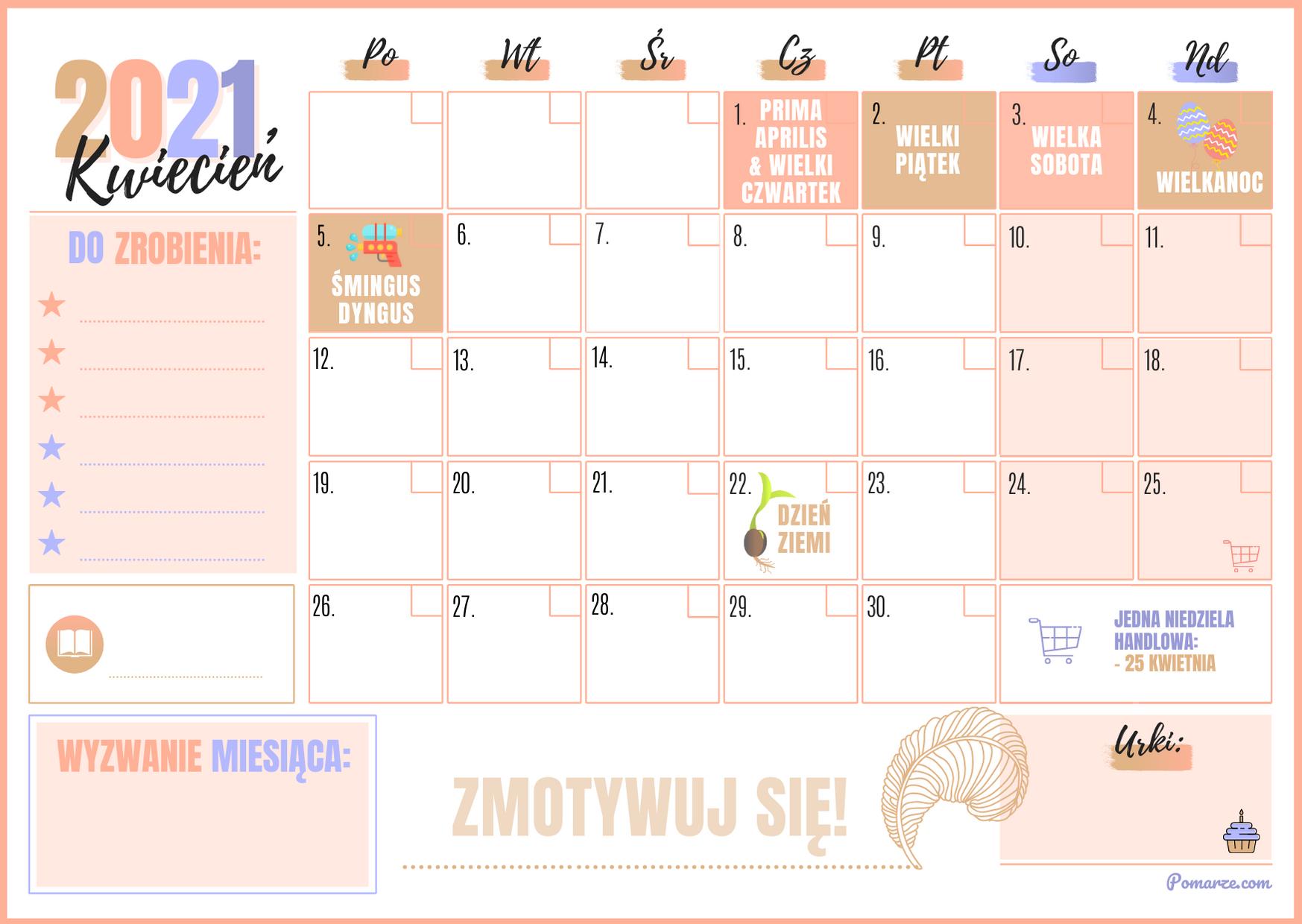 Kalendarz miesieczny planer Kwiecień 2021 różowy niebieski notatki