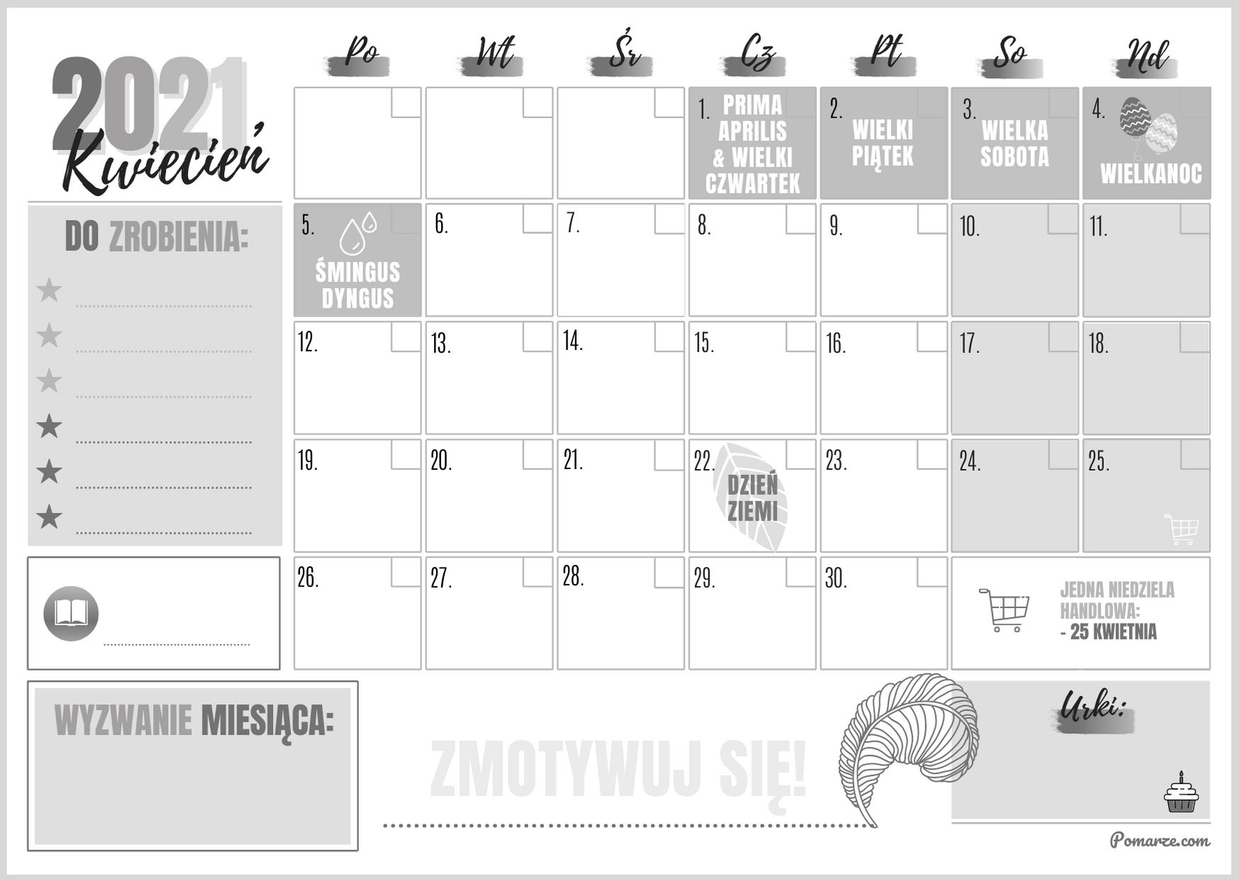 piękny miesięczny kalendarz maj 2020 czarno-biały pobierz