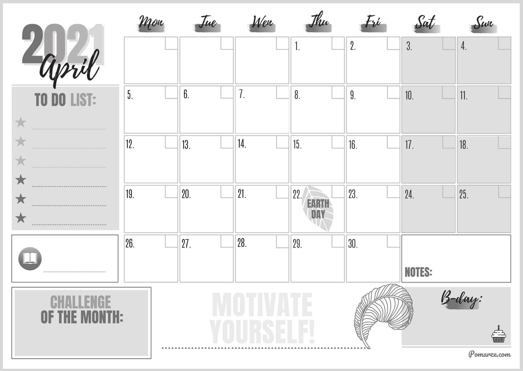 Monthly calendar planner April 2021 black-white notes printable