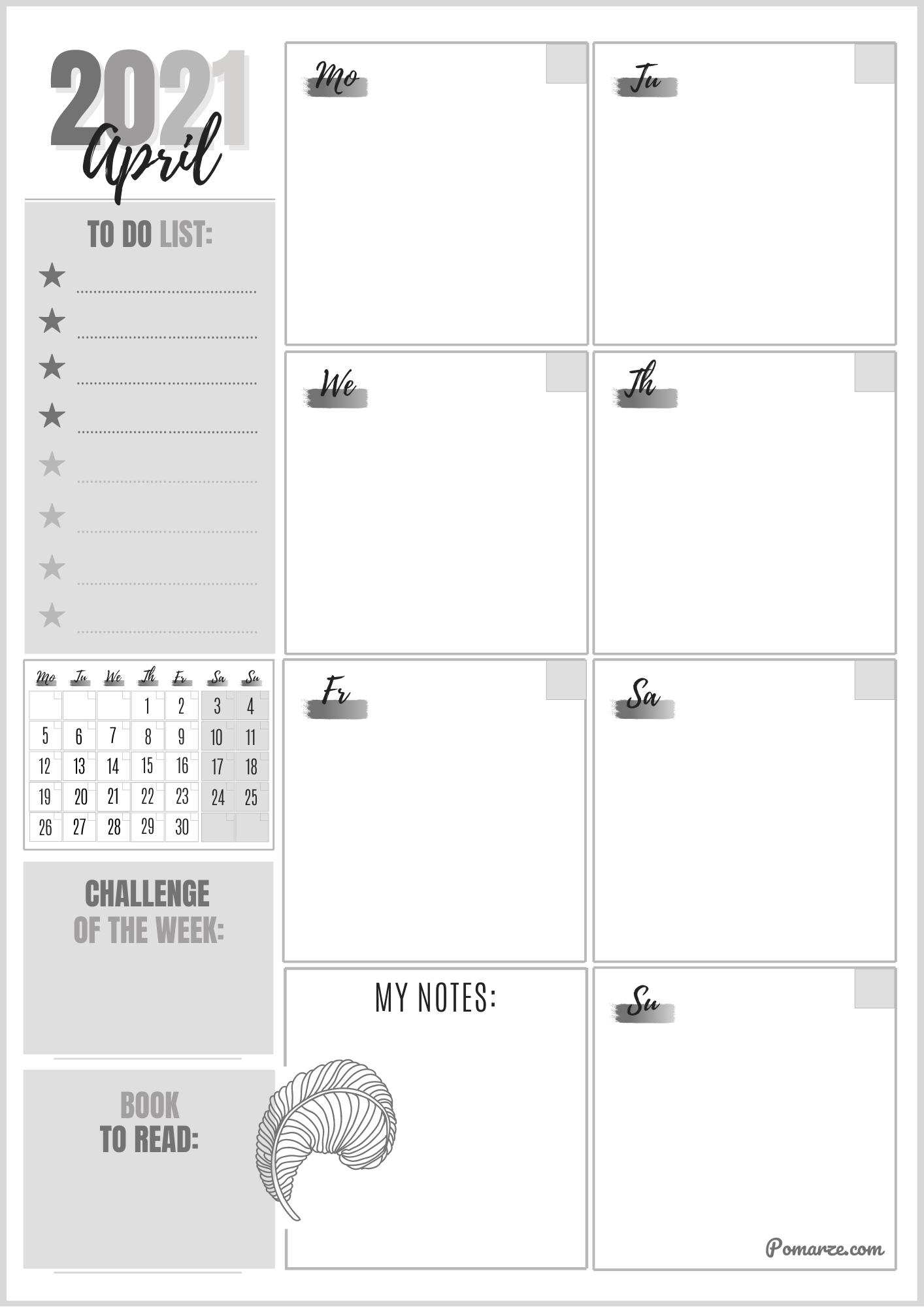 Monthly calendar planner April 2021 black-white notes