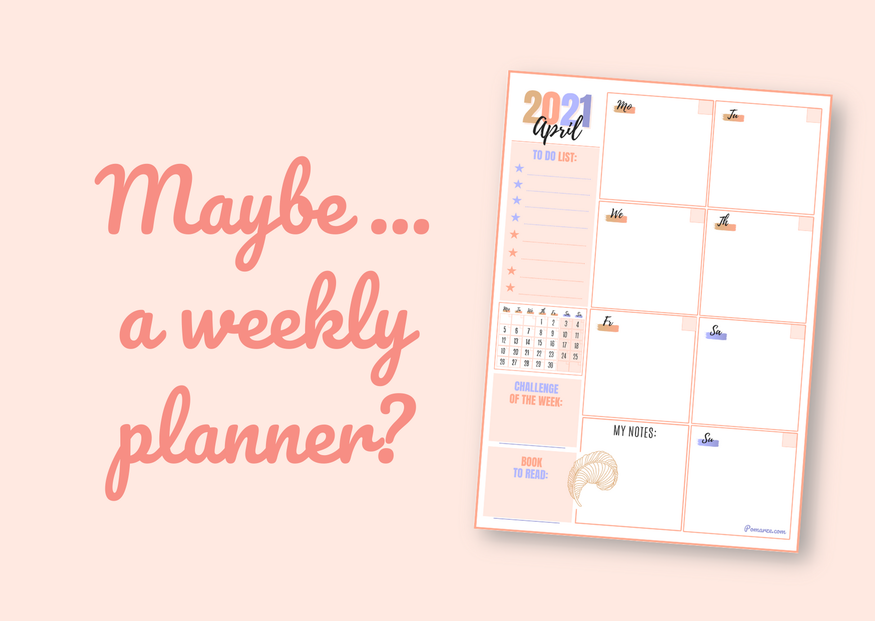 Weekly calendar planner April 2021 prinable colourful