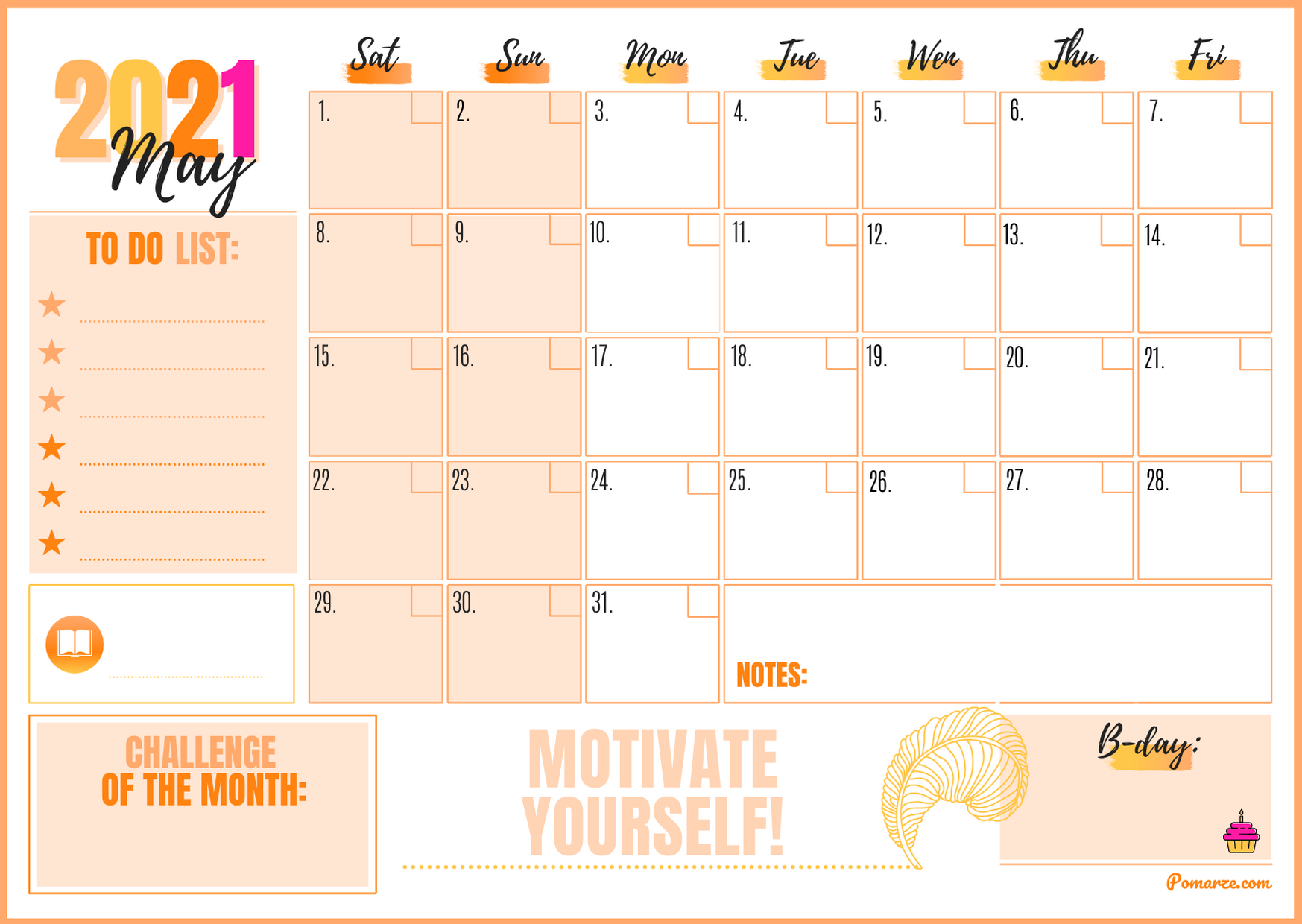 Monthly calendar planner May 2021 orange pink notes