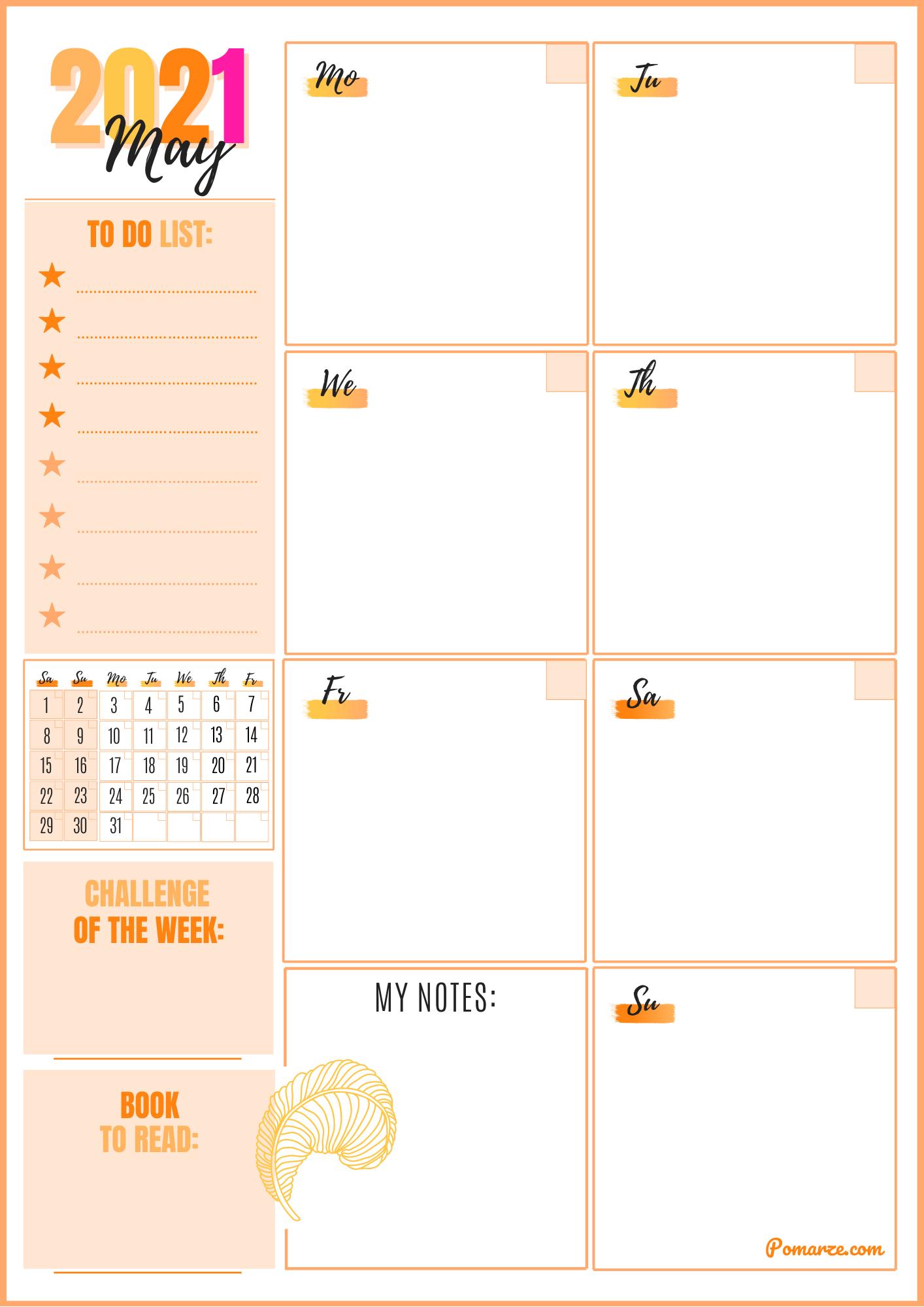 Weekly calendar planner May 2021 pink orange notes