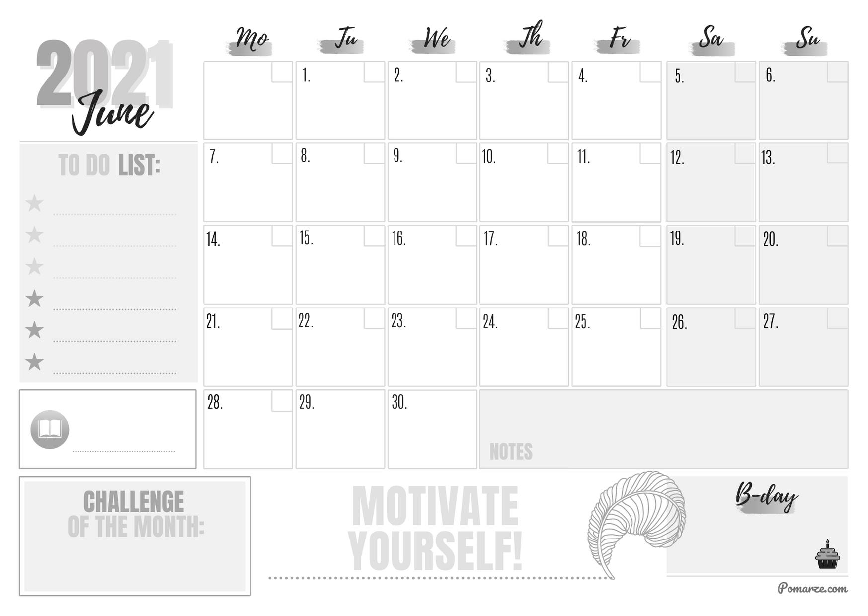 Monthly calendar planner June 2021 pomarze black-white printable