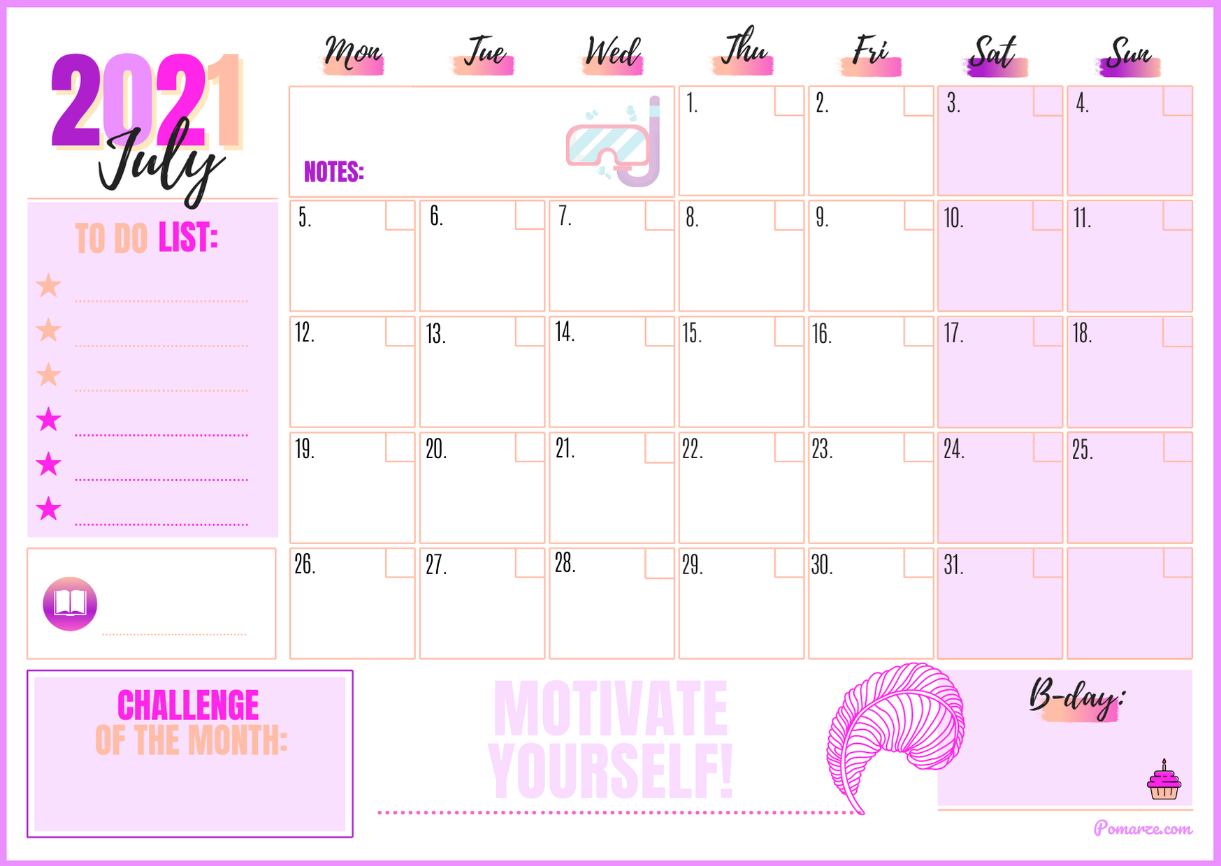 July 2021 monthly calendar weekly planner printable pink