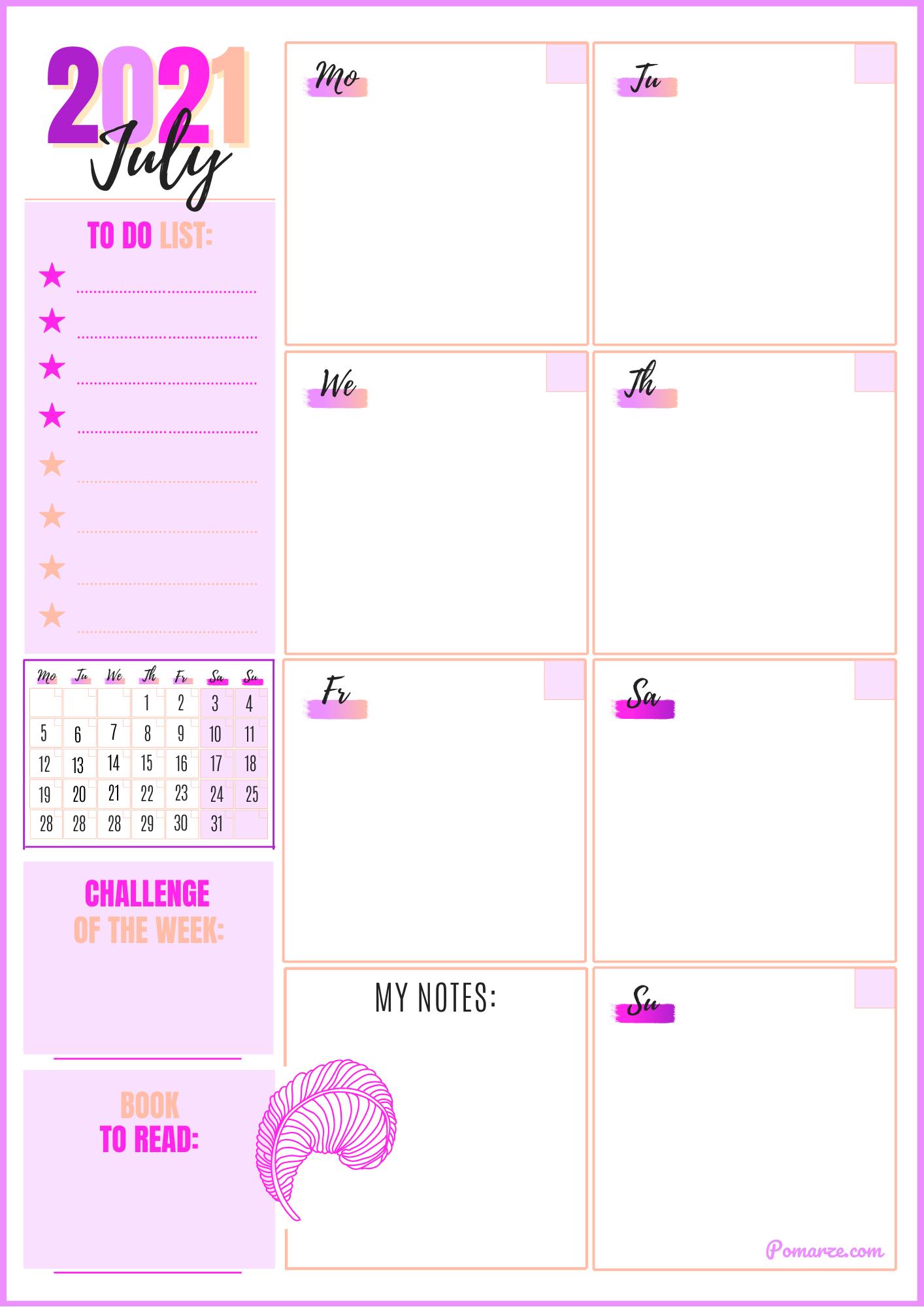 Weekly calendar planner July 2021 pink printable pdf