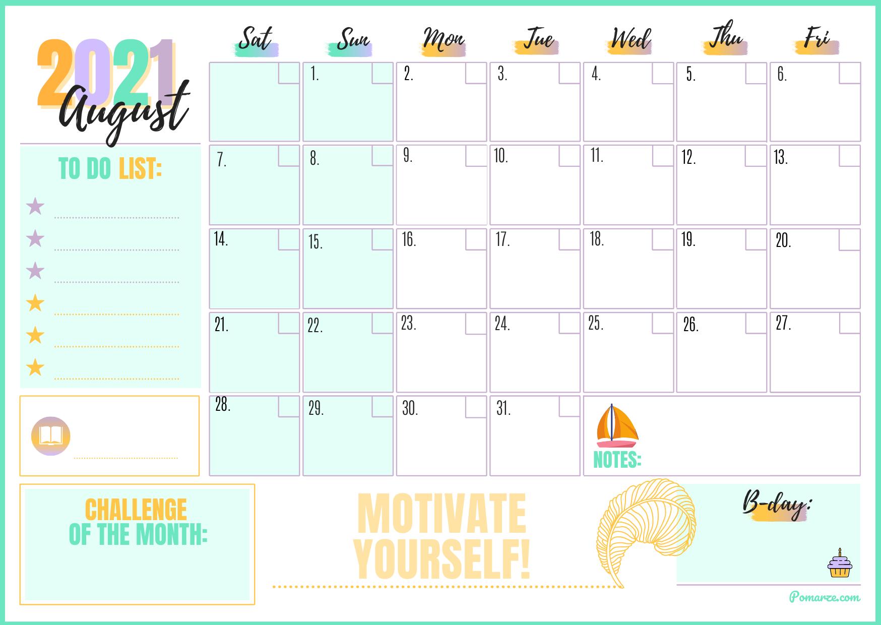 August 2021 monthly calendar weekly planner printable blue