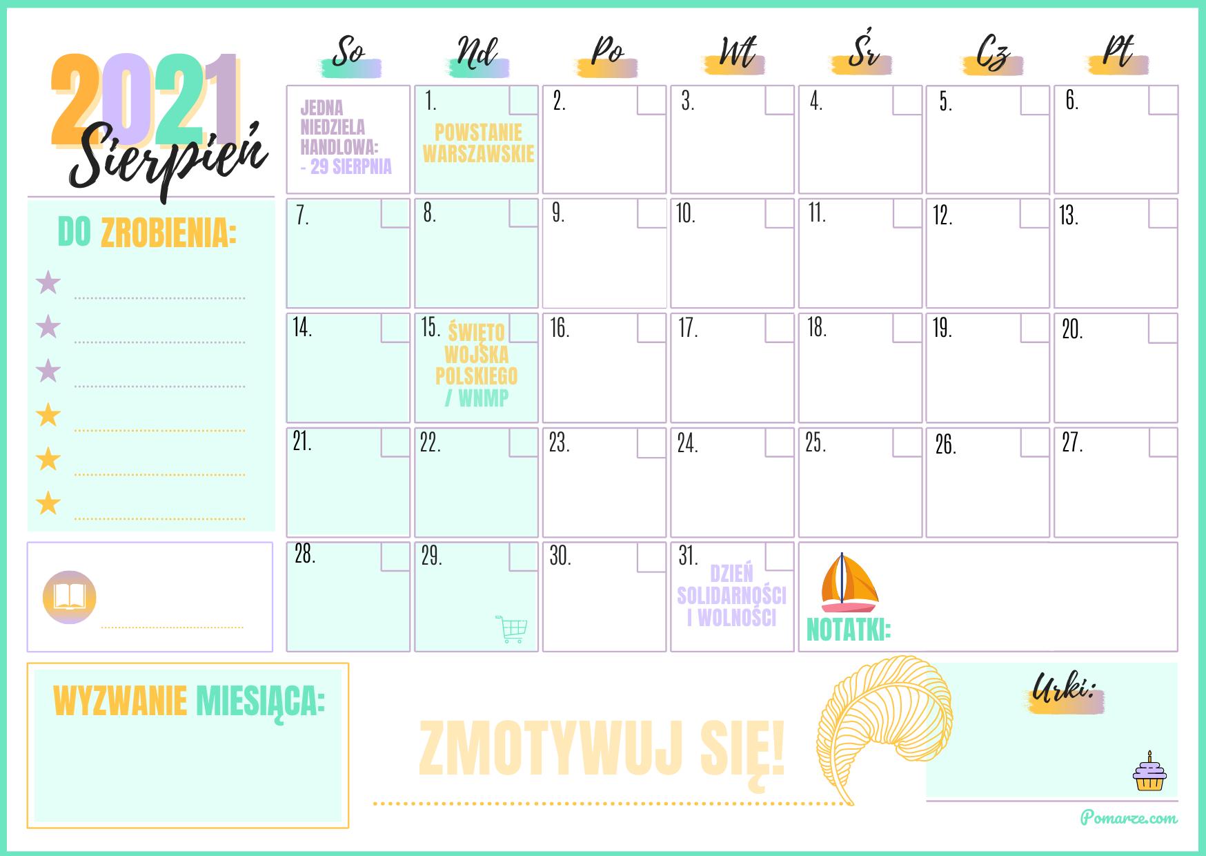 Sierpien Kalendarz miesieczny planer 2021 błękitny druk