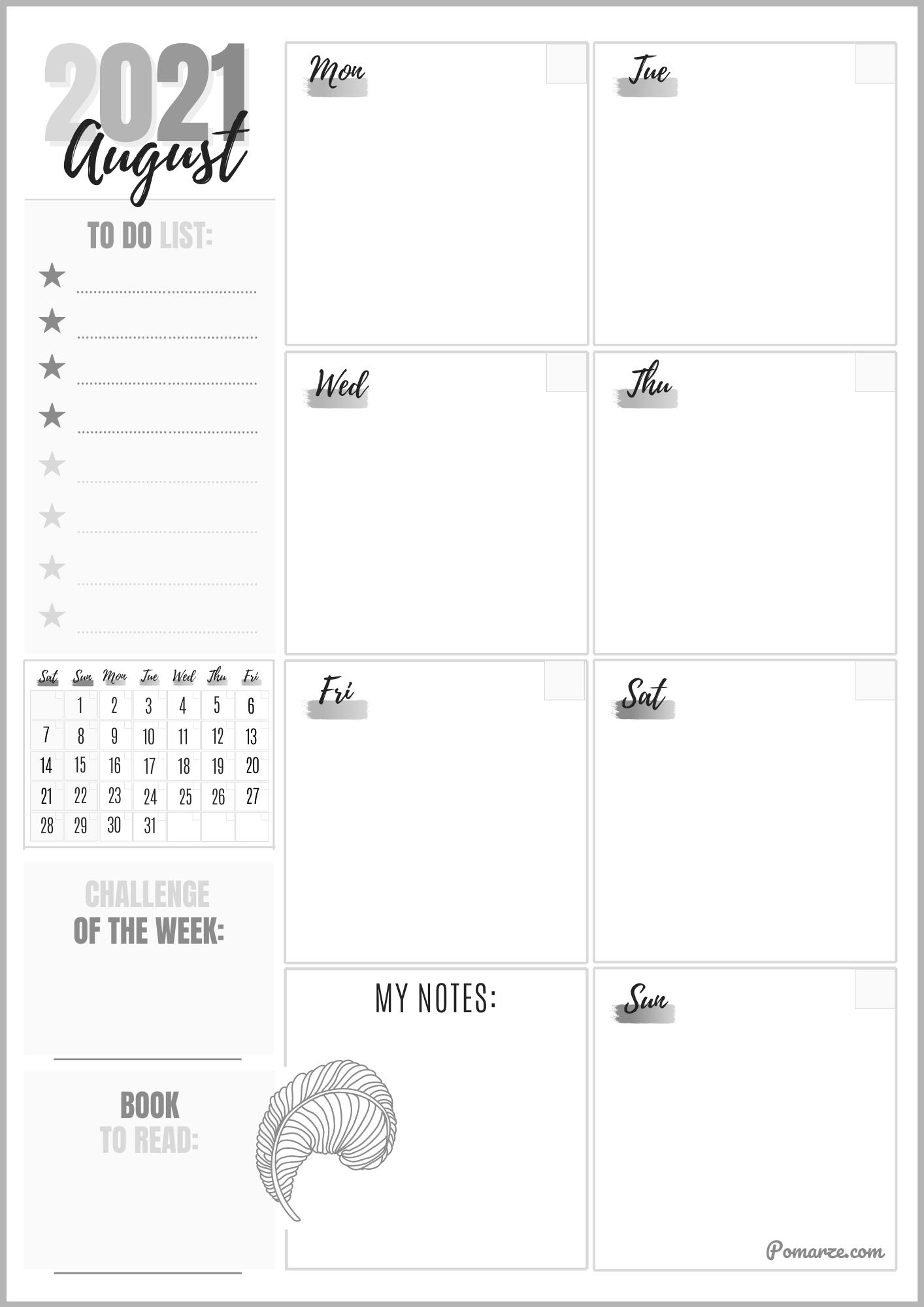 Weekly calendar planner August 2021 black-white printable pdf