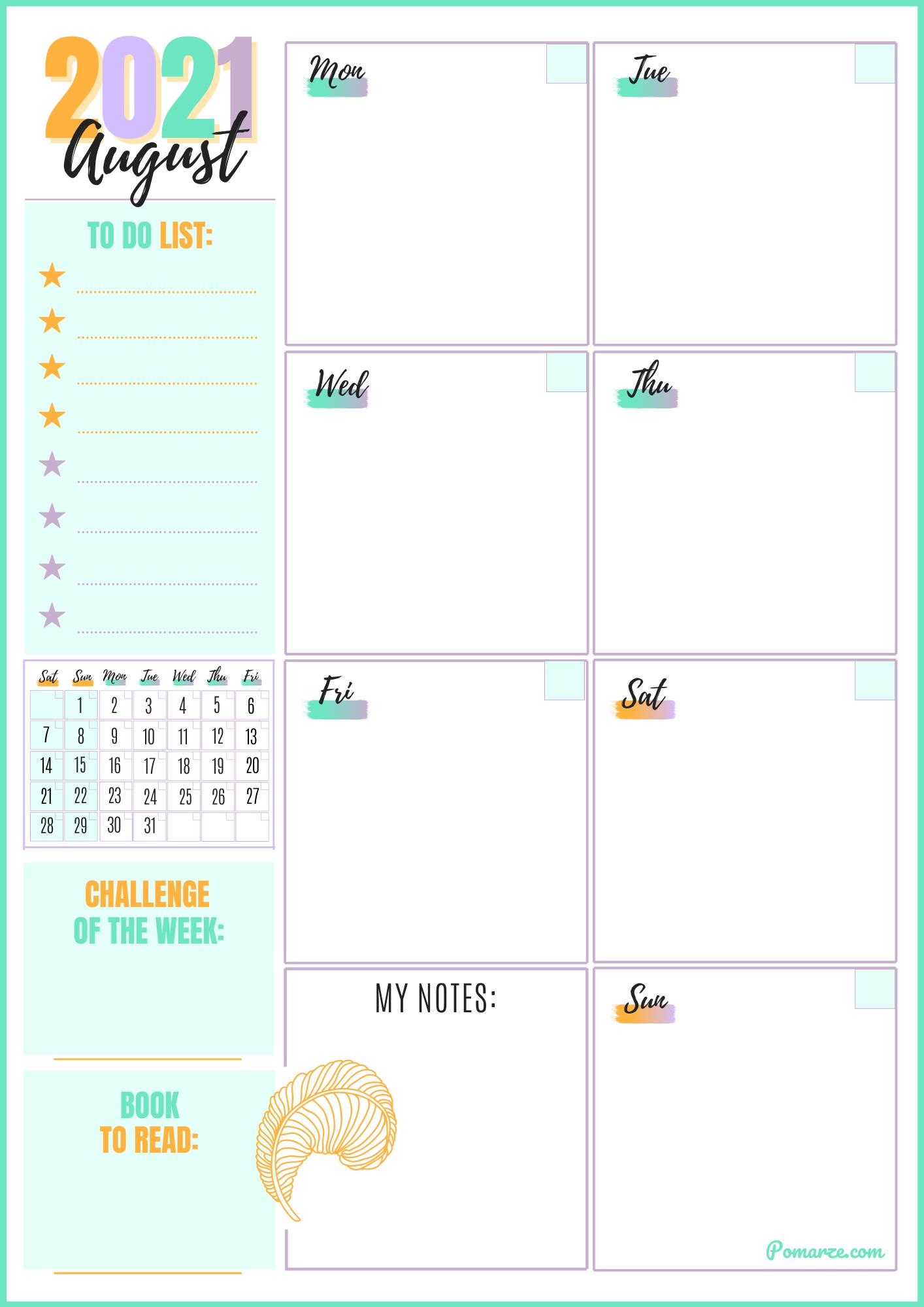 Weekly calendar planner August 2021 blue printable pdf