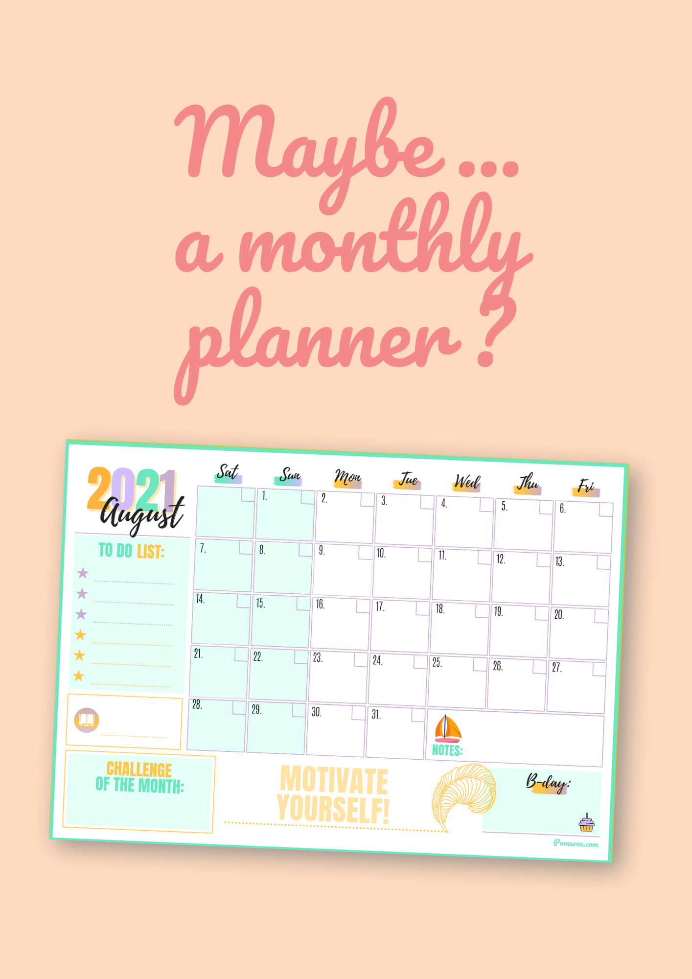 weekly calendars monthly planners Pomarze 2021 pdf