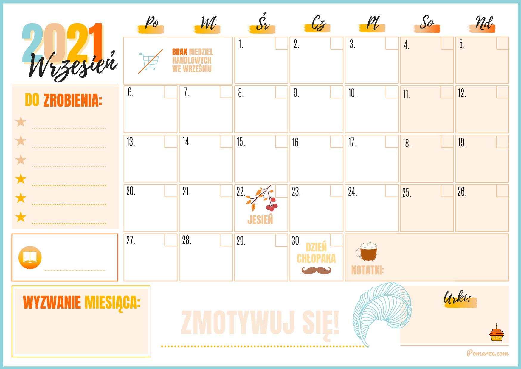 Wrzesień Kalendarz miesieczny planer 2021 kolorowy druk