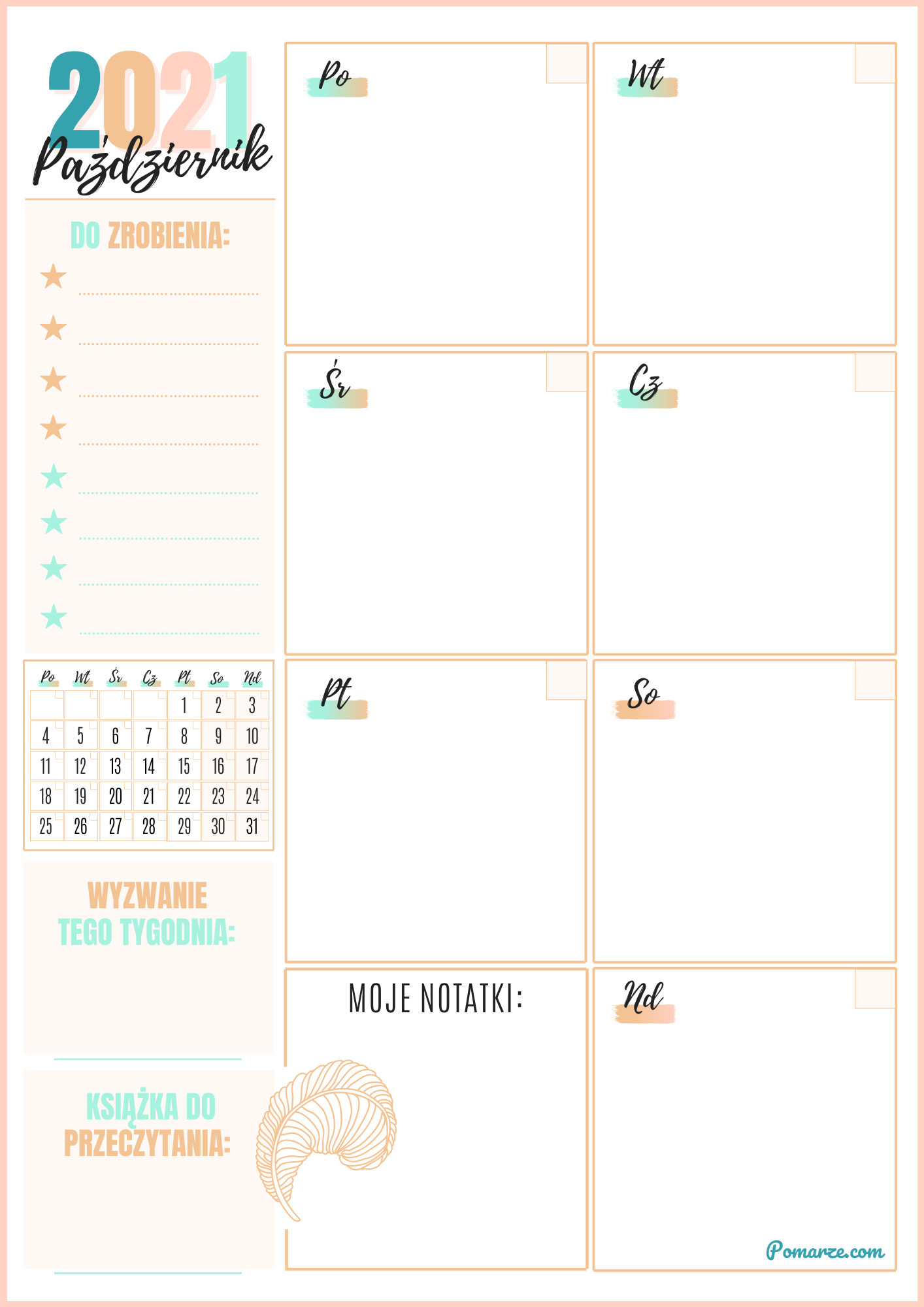 kalendarz tygodniowy 2020 Maj piękny kolorowy planer druku
